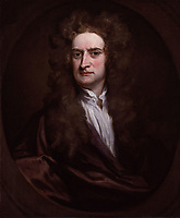 Painting of Sir Isaac Newton by Sir Godfrey Kneller<br /> <br /> Sir Isaac Newton (1643–1727) ; English physicist, mathematician, astronomer, natural philosopher, alchemist, and theologian. His law of universal gravitation and three laws of motion laid the groundwork for classical mechanics.