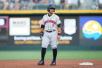 Christopher Bostick (7) of the Indianapolis Indians takes his lead off of second base against the Charlotte Knights at BB&T BallPark on June 16, 2017 in Charlotte, North Carolina.  The Knights defeated the Indians 12-4.  (Brian Westerholt/Four Seam Images)
