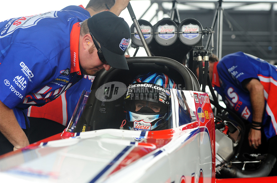 Apr. 30, 2011; Baytown, TX, USA: NHRA top fuel dragster driver Shawn Langdon during qualifying for the Spring Nationals at Royal Purple Raceway. Mandatory Credit: Mark J. Rebilas-