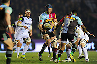 James Horwill  of Harlequins passes the ball. Aviva Premiership match, between Harlequins and Bath Rugby on March 11, 2016 at the Twickenham Stoop in London, England. Photo by: Patrick Khachfe / Onside Images