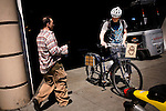 Brandon McGee finishes his last coffee delivery to SOMA (South of Market), in San Franicsco, Ca., on Monday, April 4, 2011. Bicycle Coffee Company is a San Francisco start-up taking green to a new level, by delivering hand-roasted coffee to over 100 local businesses, in addition to Whole Foods, by bicycle only. .Lianne Milton for The Wall Street Journal.Bay Area - Coffee Status