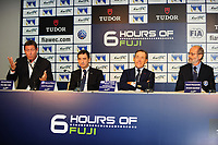 GERARD NEVEU (FRA) CEO FIA WEC, PIERRE FILLON (FRA) PRESIDENT OF THE AUTOMOBILE CLUB OF OUEST, HENRY PESCAROLO GRAND MARSCHAL, LINDSAY OWEN JONES FIA ENDURANCE COMMISSION PRESIDENT, PRESS CONFERENCE FIA WEC CALENDAR 2015