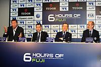 GERARD NEVEU (FRA) CEO FIA WEC, PIERRE FILLON (FRA) PRESIDENT OF THE AUTOMOBILE CLUB OF OUEST, HENRY PESCAROLO GRAND MARSCHAL, LINDSAY OWEN JONES FIA ENDURANCE COMMISSION PRESIDENT, PRESS CONFERENCE FIA WEC CALENDAR 2015