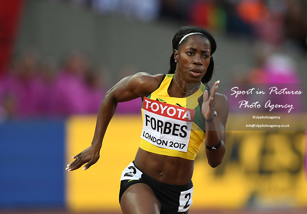 Sashalee FORBES (JAM) in the womens 200m heats. IAAF world athletics championships. London Olympic stadium. Queen Elizabeth Olympic park. Stratford. London. UK. 08/08/2017. ~ MANDATORY CREDIT Garry Bowden/SIPPA - NO UNAUTHORISED USE - +44 7837 394578