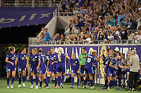 Orlando, Florida - Saturday, April 23, 2016: Orlando Pride forward Lianne Sanderson (10) celebrates scoring a goal with her teammates during an NWSL match between Orlando Pride and Houston Dash at the Orlando Citrus Bowl. The second half goal gave Orlando a 2-0 lead.