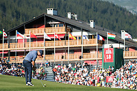 Alex Noren (SWE) in action on the 18th hole during second round at the Omega European Masters, Golf Club Crans-sur-Sierre, Crans-Montana, Valais, Switzerland. 30/08/19.<br /> Picture Stefano DiMaria / Golffile.ie<br /> <br /> All photo usage must carry mandatory copyright credit (© Golffile | Stefano DiMaria)