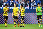 15.04.2018, VELTINS Arena, Gelsenkirchen, Deutschland, GER, 1. FBL, FC Schalke 04 vs. Borussia Dortmund, im Bild Sokratis Papastathopoulos (#25 Dortmund), Marco Reus (#11 Dortmund), Nuri Sahin (#8 Dortmund), Julian Weigl (#33 Dortmund) entt&auml;uscht / enttaeuscht / traurig nach Niederlage<br /> <br /> Foto &copy; nordphoto / Kurth