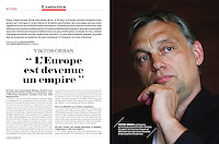 Portrait of the Hungarian prime minister Viktor Orbán in L'Express (French political magazine), 2013 July 10.<br /> Photographer: Martin Fejer