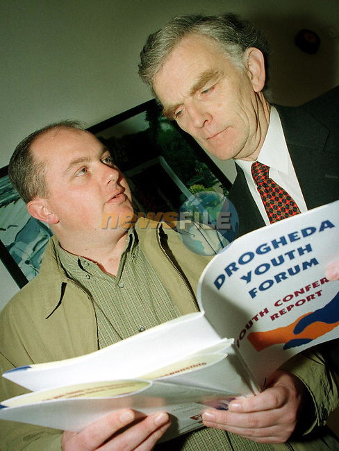 Paul Gates and Donal Moloney, FAS at the launch of the Drogheda Youth Forum in the Droichead Arts Centre..Picture Paul Mohan Newsfile.NO BYLINE PLEASE