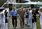 Camp David, MD - June 26, 2008 -- United States President George W. Bush (L) walks with Sheikh Mohammad bin Zayed Al Nahyan, the Crown Prince of Abu Dhabi, the United Arab Emirates, after arriving June 27, 2008 at Camp David, Maryland. The Crown Prince is scheduled to stay over night at the presidential retreat..Credit: Mark Wilson - Pool via CNP