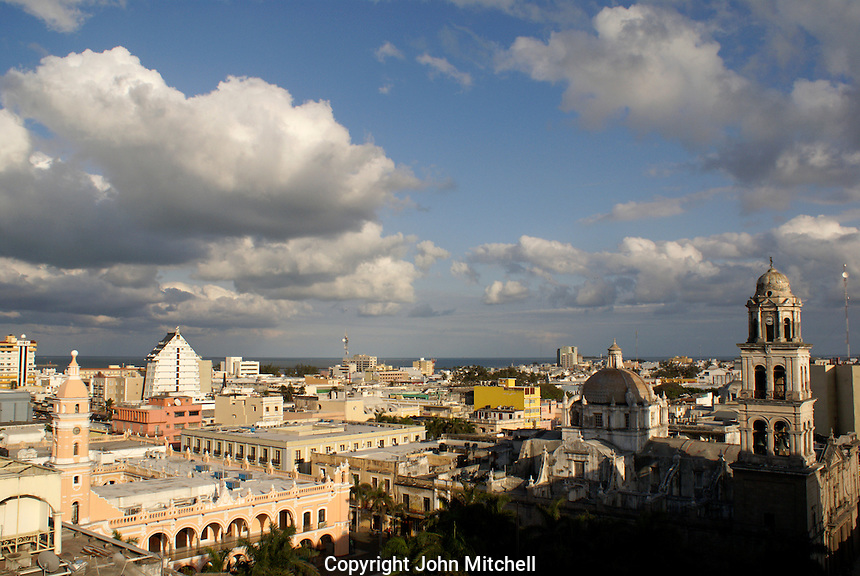 View of downtown Veracruz, Mexico, with the cathedral, Palacio Municipal, and Plaza de Armas in foreground.