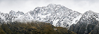 Mt. Blackburn 2409m of Southern Alps after fresh snowfall, Aoraki Mount Cook National Park, UNESCO World Heritage Area, Mackenzie Country, New Zealand, NZ