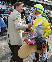 ELMONT, NY - JUNE 10: Ascend trainer H. Graham Mortion shakes hands with jockey Jose Ortiz after winning the Woodford Reserve Manhattan Stakes  on Belmont Stakes Day at Belmont Park on June 10, 2017 in Elmont, New York (Photo by Jesse Caris/Eclipse Sportswire/Getty Images)