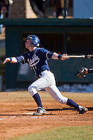 Zeb Link #2 of the Catawba Indians follows through on his swing versus the Shippensburg Red Raiders on February 14, 2010 in Salisbury, North Carolina.  Photo by Brian Westerholt / Four Seam Images