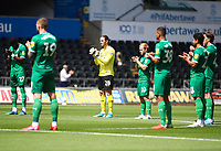 5th July 2020; Liberty Stadium, Swansea, Glamorgan, Wales; English Football League Championship, Swansea City versus Sheffield Wednesday; Sheffield Wednesday players take part in a minute of applause before kick off