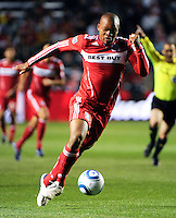 Chicago Fire forward Collins John (15) speeds toward the San Jose goal during the first half of a match between the San Jose Earthquakes and the Chicago Fire at Toyota Park in Bridgeview, IL on April 10, 2010.  San Jose Earthquakes 2, Chicago Fire 1.