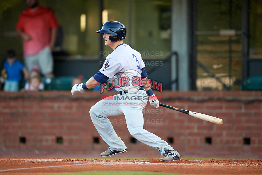 Pensacola Blue Wahoos second baseman Josh VanMeter (3) follows through on a swing during a game against the Mobile BayBears on April 25, 2017 at Hank Aaron Stadium in Mobile, Alabama.  Mobile defeated Pensacola 3-0.  (Mike Janes/Four Seam Images)