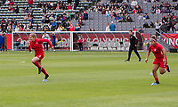 CARSON, CA - FEBRUARY 9: Jordyn Huitema #9 and Desiree Scott #11 of Canada warming up during a game between Canada and USWNT at Dignity Health Sports Park on February 9, 2020 in Carson, California.