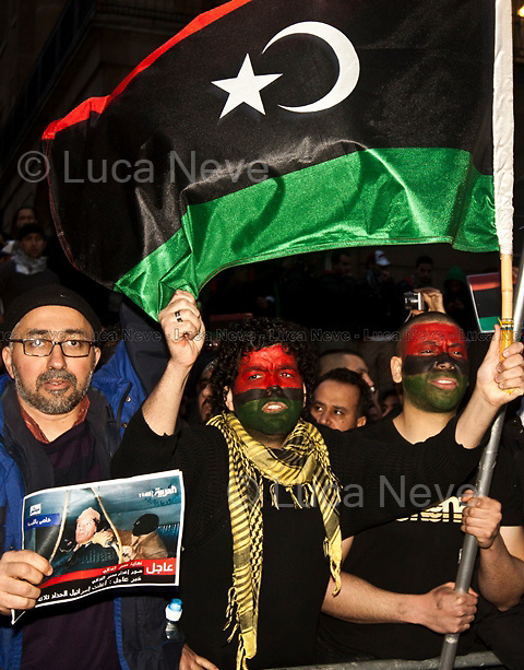 London, 22/02/2011. Hundreds of Libyan people protested peacefully outside Downing Street urging the UK Government to implement a No-Fly Zone in Libya and to stop the massacre of Libyan civilians by Gaddafi forces.