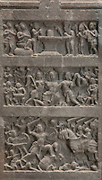 Hindu low-relief, 10th - 12th centuries, in the archaeological museum in the Carmo Church, adjoining the Convento da Ordem do Carmo or Carmo Convent, a Carmelite convent founded 1389 and destroyed in the 1755 earthquake, Chiado, Lisbon, Portugal. Below is a battle scene, in the middle is a hero being transported to heaven by nymphs, and above is a linga, the symbol of the god Shiva. Picture by Manuel Cohen