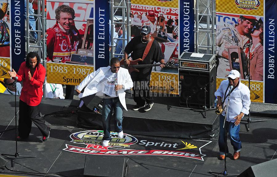 Feb 17, 2008; Daytona Beach, FL, USA; Music group Cool and the Gang performs prior to the Daytona 500 at Daytona International Speedway. Mandatory Credit: Mark J. Rebilas-US PRESSWIRE