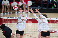STANFORD, CA - November 15, 2017: Jenna Gray, Audriana Fitzmorris at Maples Pavilion. The Stanford Cardinal defeated USC 3-0 to claim the Pac-12 conference title.