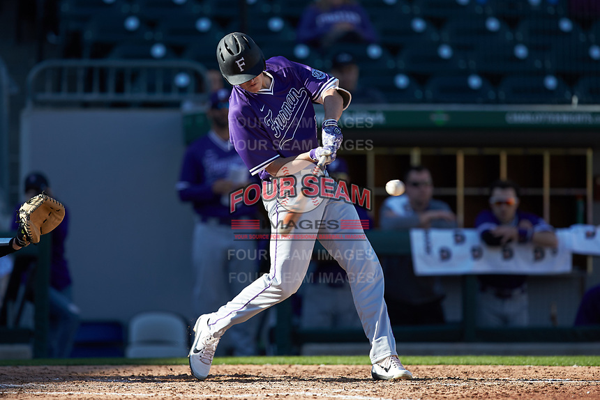 Trent Alley (22) of the Furman Paladins at bat against the Wake Forest Demon Deacons at BB&T BallPark on March 2, 2019 in Charlotte, North Carolina. The Demon Deacons defeated the Paladins 13-7. (Brian Westerholt/Four Seam Images)