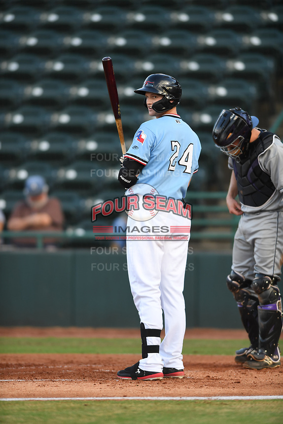 Hickory Crawdads Sam Huff (24) prepares to bat during a game with the Asheville Tourists at L.P. Frans Stadium on May 8, 2019 in Hickory, North Carolina. The Tourists defeated the Crawdads 7-6. (Tracy Proffitt/Four Seam Images)