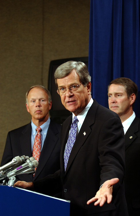 Don Nickles, R-OK., Trent Lott, R-Miss., and Bill Frist, R-TN.,  talk to reporters about Miguel Estrada dropping his name for the nomination list to the U.S..Court of Appeals.