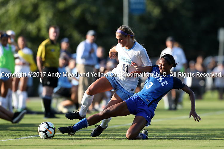 CARY, NC - AUGUST 18: Duke's Imani Dorsey (3) and North Carolina's Emily Fox (11). The University of North Carolina Tar Heels hosted the Duke University Blue Devils on August 18, 2017, at Koka Booth Stadium in Cary, NC in a Division I college soccer game.