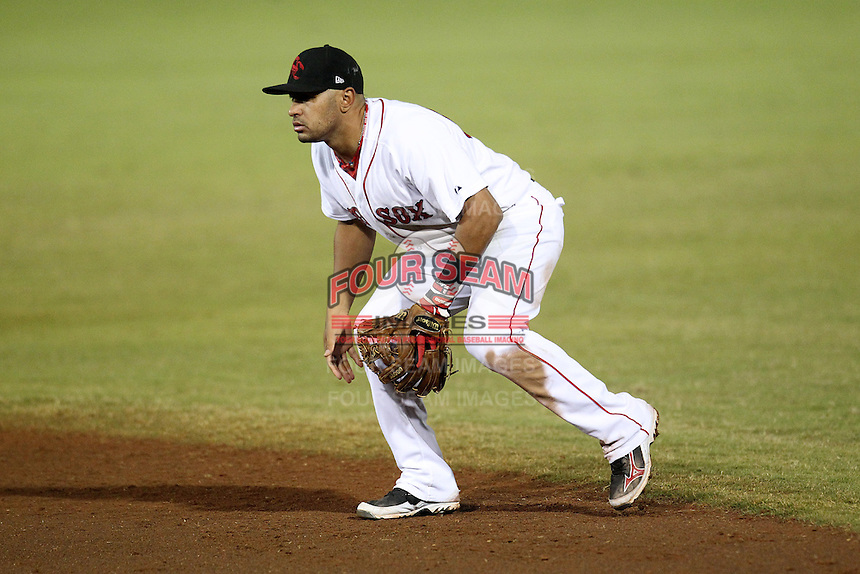 Scottsdale Scorpions second baseman Ryan Dent #57 during an Arizona Fall League game against the Surprise Saguaros at Scottsdale Stadium on November 2, 2011 in Scottsdale, Arizona.  Surprise defeated Scottsdale 5-4.  (Mike Janes/Four Seam Images)