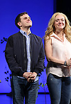 Rachel Bay Jones with Taylor Trensch as he takes his bows as the newest Evan in 'Dear Evan Hansen' on Broadway at the Music Box Theatre on February 6, 2018 in New York City.
