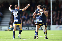 Worcester Warriors players celebrate at the final whistle. Aviva Premiership match, between Worcester Warriors and Bath Rugby on April 15, 2017 at Sixways Stadium in Worcester, England. Photo by: Patrick Khachfe / Onside Images