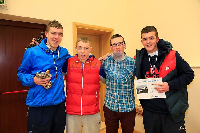 Dean Johnson, Sean Leslie, Stephen Harrison and Aaron Kierans at the Boyne Garda Youth Project awards night<br /> Picture: Fran Caffrey www.newsfile.ie