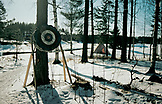 SWEDEN, Swedish Lapland, Lanscape with a Teepee and a Target on a Tree