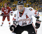 Drew Daniels (Northeastern - 24) - The Harvard University Crimson defeated the Northeastern University Huskies 3-2 in the 2012 Beanpot consolation game on Monday, February 13, 2012, at TD Garden in Boston, Massachusetts.