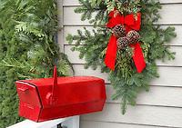 Christmas decoration-red mailbox with wreath. Al's Nursery. Sherwood. Oregon