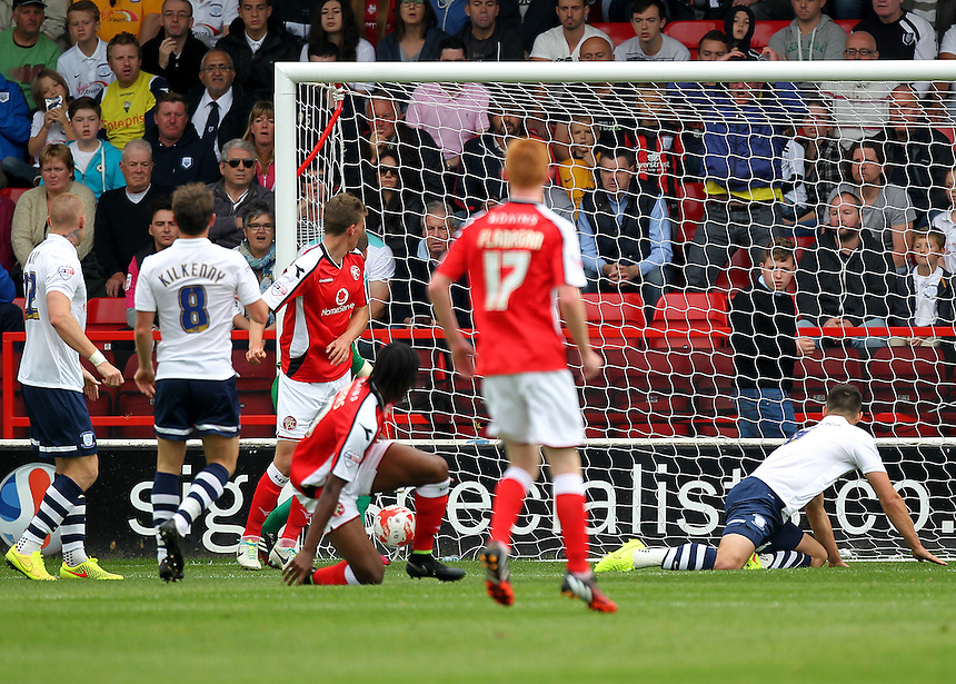 Walsall's Romaine Sawyers scores his sides first goal  <br /> <br /> Photographer Mick Walker/CameraSport<br /> <br /> Football - The Football League Sky Bet League One - Walsall v Preston North End - Saturday 13th September 2014 - Banks's Stadium - Walsall<br /> <br /> &copy; CameraSport - 43 Linden Ave. Countesthorpe. Leicester. England. LE8 5PG - Tel: +44 (0) 116 277 4147 - admin@camerasport.com - www.camerasport.com