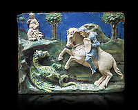Enamelled terracotta relief panel of Saint George sleighing the Dragon. Made in Florence around 11520. Inv RF 3096, The Louvre Museum, Paris.