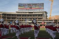 NWA Democrat-Gazette/CHARLIE KAIJO Arkansas Razorbacks marching band members perform during a football game on Friday, November 24, 2017 at Razorback Stadium in Fayetteville.