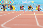 November 17 2011 - Guadalajara, Mexico:  Christy Campbell and Rachael Burrows at the start of the 100m - T34 final in the Telmex Athletic's Stadium at the 2011 Parapan American Games in Guadalajara, Mexico.  Photos: Matthew Murnaghan/Canadian Paralympic Committee