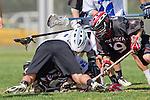 Corona Del Mar, CA 04/06/10 - Adam Sharma (Danville/Monte Vista #19), Taylor Epp (Corona Del Mar #11) and Zach Dutra (Danville/Monte Vista #23) in action during the Corona Del Mar-Danville/Monte Vista lacrosse game.