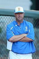 UCLA Bruins Head Coach John Savage #22 before a game against the Stanford Cardinal at Jackie Robinson Stadium on May 2, 2014 in Los Angeles, California. UCLA defeated Stanford, 7-2. (Larry Goren/Four Seam Images)
