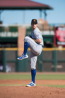 Surprise Saguaros relief pitcher Grant Gavin (54), of the Kansas City Royals organization, delivers a pitch during an Arizona Fall League game against the Scottsdale Scorpions at Scottsdale Stadium on October 26, 2018 in Scottsdale, Arizona. Surprise defeated Scottsdale 3-1. (Zachary Lucy/Four Seam Images)