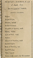BNPS.co.uk (01202 558833)<br /> Pic: DominicWinter/BNPS<br /> <br /> Sunday's Dinner menu included bolied ducks and a roasted Swan.<br /> <br /> The menu for the lavish banquet where the King supposedly knighted his beef joint 'sirloin' giving rise to its name has emerged for sale.<br /> <br /> It lists the 129 dishes which were laid on for James I and his royal party during their brief stay at the Lancashire mansion of Sir Henry Hoghton in 1617.<br /> <br /> Included in the dinner offering was a loin of beef which legend states so delighted the monarch he pulled out his sword to bestow the honour upon it, theatrically declaring 'Loin, we dub thee knight henceforward be Sir Loin!'<br /> <br /> Hoghton spared no expense in providing a feast fit for royalty, with 14 members of staff preparing three giant meals. The menu would make grim reading for vegans as dishes included mutton, chicken, veal, turkey, rabbit, pig, pheasant, duck, deer, wild boar, quail and heron.<br /> <br /> The menu is being sold with auctioneer Dominic Winter, of Cirencester, Gloucs, who expect it to fetch £800.