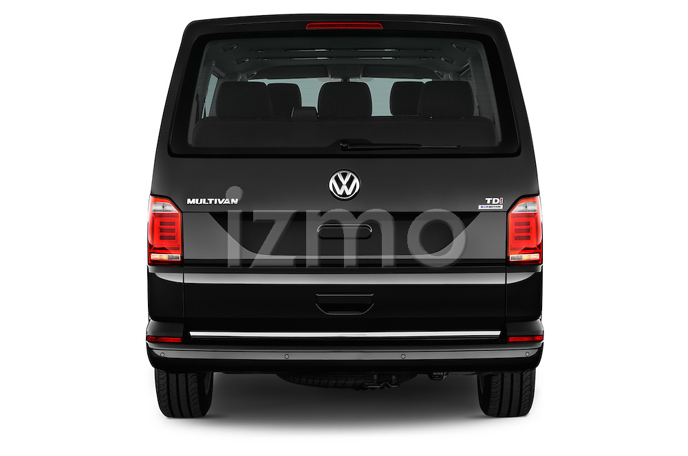 Straight rear view of 2016 Volkswagen Multivan Comfortline BMT 5 Door Passenger Van Rear View  stock images