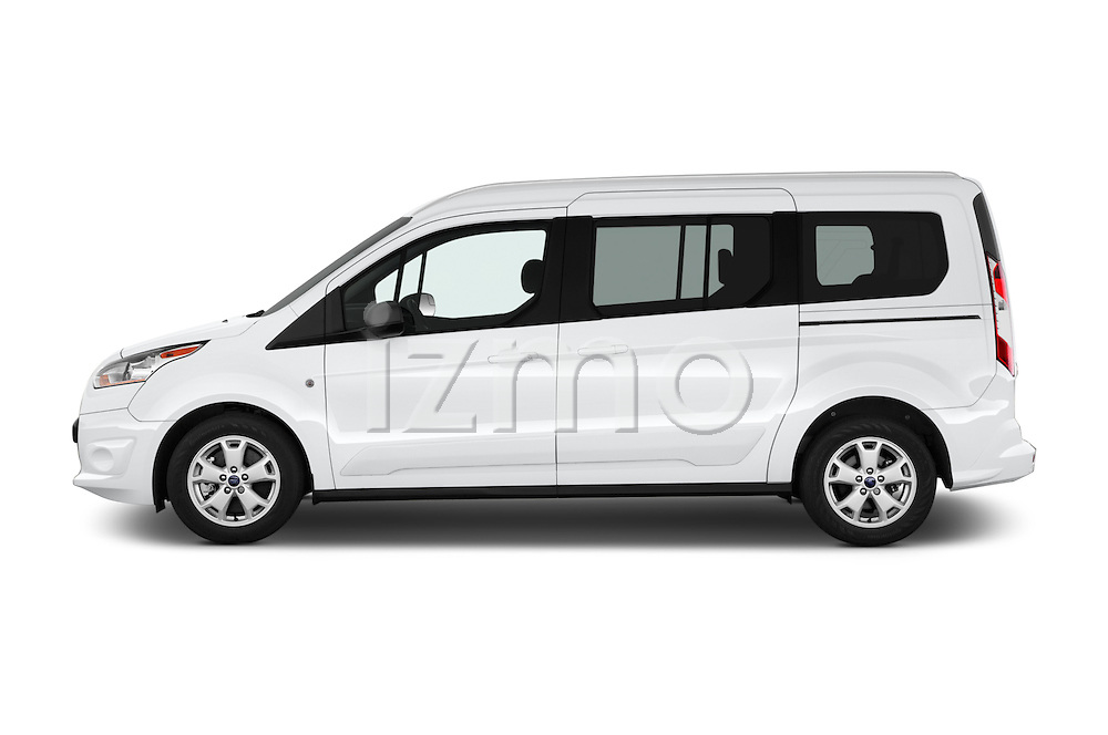Car Driver side profile view of a 2016 Ford Transit-Connect XLT-LWB 5 Door mini MPV Side View