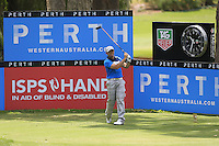 Simon Houston (AUS) on the 18th tee during Round 1 of the ISPS HANDA Perth International at the Lake Karrinyup Country Club on Thursday 23rd October 2014.<br /> Picture:  Thos Caffrey / www.golffile.ie
