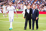 Real Madrid's player Sergio Ramos with Paco Gento and Raymond Kopa during the XXXVII Santiago Bernabeu Trophy in Madrid. August 16, Spain. 2016. (ALTERPHOTOS/BorjaB.Hojas)