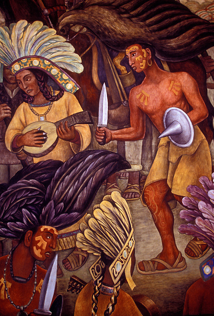 Mural by Diego Rivera, Dance of the Huichilobos, Palacio de Bellas Artes, Mexico City, Distrito Federal, Mexico, North America